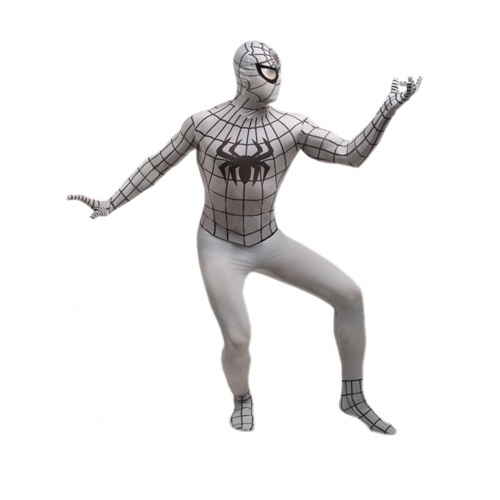 White Spandex Spiderman Halloween Costume