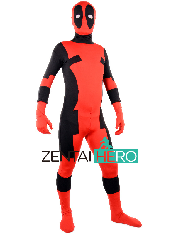 New Red & Black Deadpool Lycra Superhero Costume